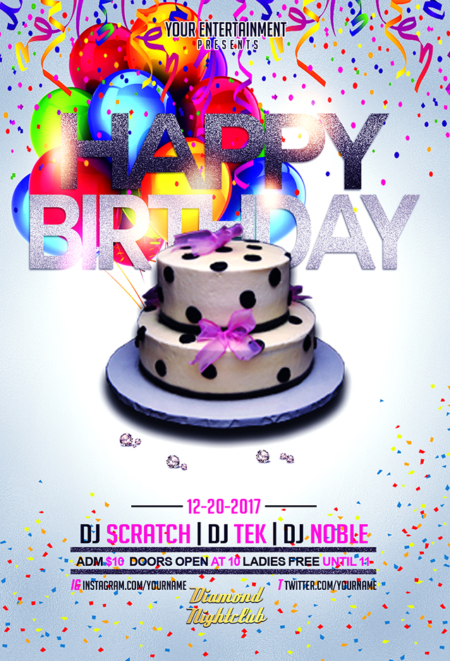 happy birthday flyer template streetz myestro beats